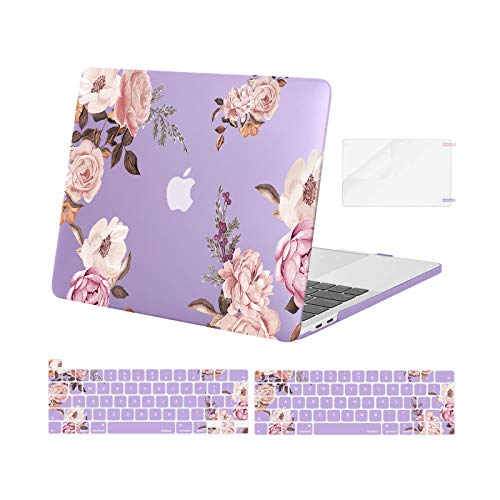 MOSISO Compatible with MacBook Pro 13 inch Case 2016-2020 Release A2338 M1 A2251 A2289 A2159 A1989 A1706 A1708, Plastic Peony Hard Shell Case&Keyboard Cover Skin&Screen Protector, Purple