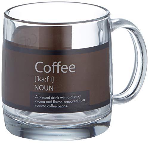 Luminarc Arc International Nordic Mug with Coffee Definition (Set of 6), 13 oz, Clear