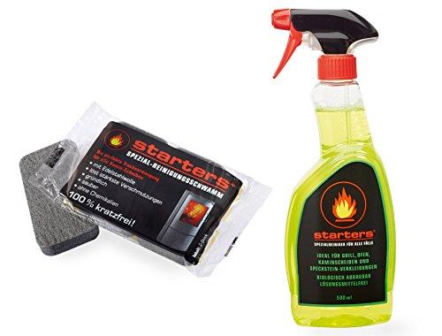 STARTERS Ofen-Reinigungsset: Spezialreiniger (500ml) und 1 Doppelpack Profi- Kaminscheiben-Reinigungsschwämme von starters®