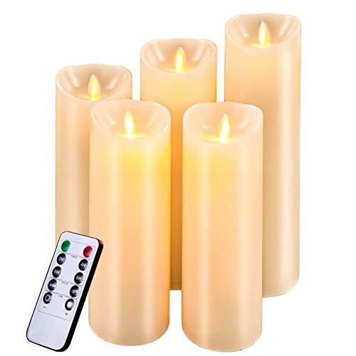 Bougies LED,Bougies Sans Flamme.Lot de 5 (12cm, 15 cm, 17 cm, 20cm, 22cm),En Véritable Cire. Avec Vacillement des Flammes Très Réalist,eTélécommande Avec 10 Menus De Fonction, Minuterie de 24 Heures