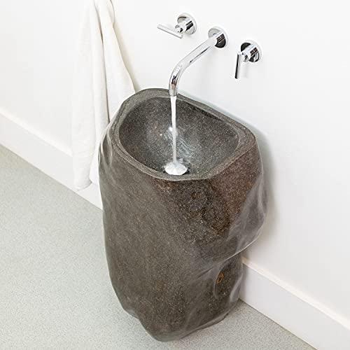 wohnfreuden Naturstein Flussstein Halbsäule Standwaschbecken poliert 35x35x80 cm