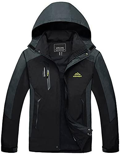 TACVASEN Herren Leichte Wasserdichte Softshell Jacke mit Abnehmbarer Kapuze, Schwarz, DE L