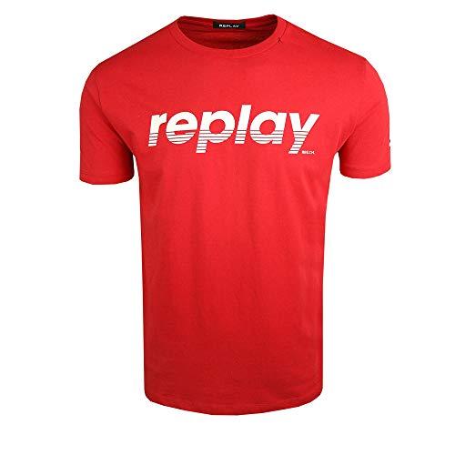 Replay T-Shirt mit großem Logo in der Mitte, Rot Gr. M, rot
