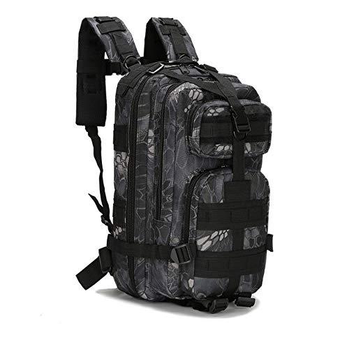 QND,Rucksack 30L Rucksack 800D Nylon Wandern Klettertaschen Outdoor Wasserdicht Camping Jagd Angelrucksack, Black Python