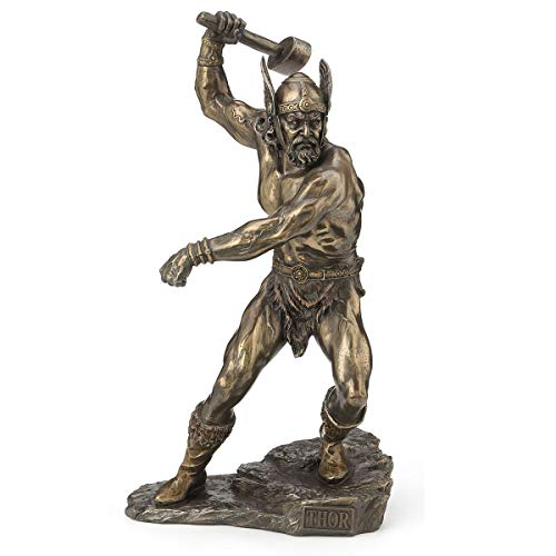 Estatuilla de resina Dios Thor, acabado antiguo, 27 cm de alto