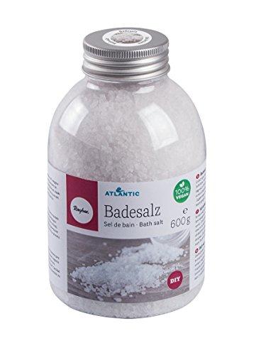 Rayher Hobby 34222000 Badesalz, Flasche 600 g, natürliches, grobkörniges, franz. Salz aus dem Atlantik, handgemacht, Wellness zum Selbermachen, Peeling Effekt, hautfreundliche Mineralien, kristallklar