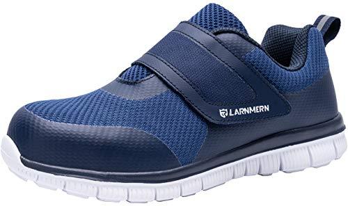 LARNMERN Stahlkappe Sicherheitsschuhe, Herren luftdurchlässige Leichte Anti-Smashing Punktion Proof Schuhe Industrie und Handwerk (45 EU, Schwarz)