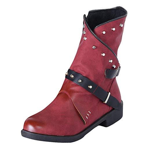 POLP Botas de Moto Mujer con Tachuelas Vintage Zapatos de Tacon Bajo con Cremallera Botines con Hebilla Aire Libre Retro Botas Plisadas (Ropa)