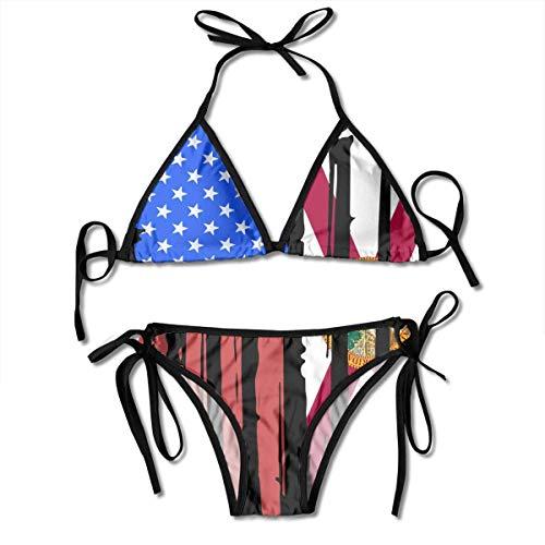 NO Badeanzug Bikini, American Half Florida Flag String 2-teilige Neckholder-Badebekleidung, Muster Persönlichkeit Badeanzüge für Frauen