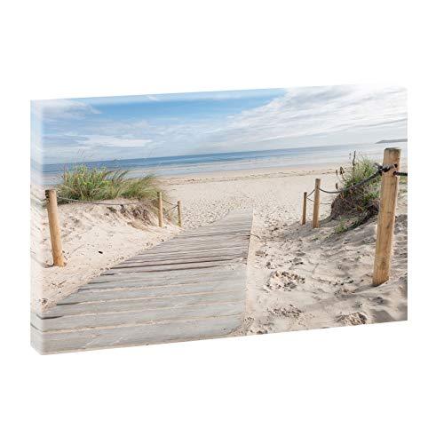 Bild auf Leinwand mit Landschaftsmotiv Holzsteg zum Meer | 120 x 80 cm, Farbig, Wandbild, Leinwandbild mit Kunstdruck, Nordseebild mit Strandmotiv auf Holzrahmen gespannt,...