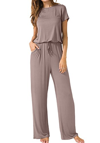 LAINAB Womens Casual Short Sleeve O Neck Wide Legs Playsuits Jumpsuits Khaki S