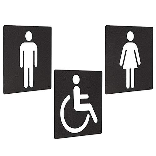 Cadside Pack 3 señales WC - 3 Carteles para aseos, Femenino, Masculino y Movilidad Reducida - Grupo de letreros para baños