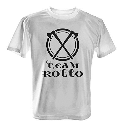 Fashionalarm Herren T-Shirt - Team Rollo | Fun Shirt für Fans der Serie TV DVD Blu Ray | Vik-ings Wikinger Axt Äxte Siggy Valhalla, Farbe:weiß;Größe:4XL