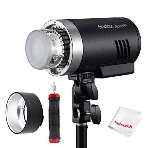 Godox AD300Pro AD300 Pro Flash, 2.4G TTL 1/8000 HSS, 0.01-1.5S Tiempo de reciclaje, 320 flashes de potencia completa, 5600 color estable, Bicolor Lamapra de modelado con Pergear Flash empuñadura