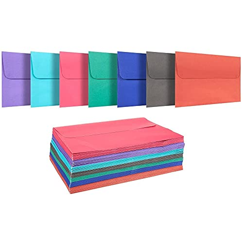 100 Pack Assorted Colored A7 Envelopes - Includes Blue, Pink, Purple,...