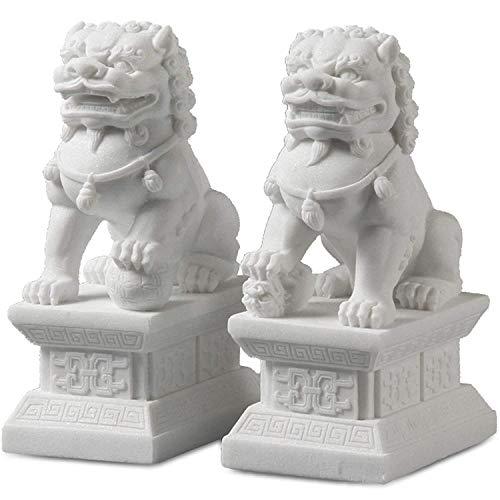 Feng Shui Wealth Prosperity Pair of Peking Fu Foo Dogs Statues White Marble Jade, Warding Off Evil Energy, Feng Shui Decor Figure,Gray,11cm