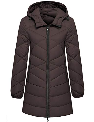 Wantdo Women's Packable Hooded Windproof Quilted Down Jacket Parka Coffee Large