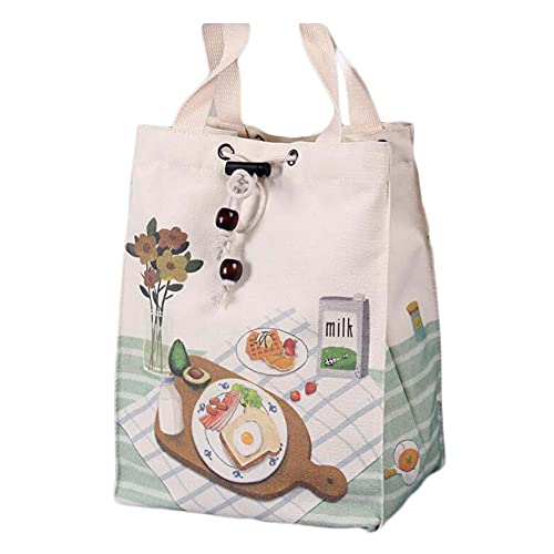 Sandwich Canvas Lunch Box Bento Bag Bolsa de Asas de Almuerzo de Gran Capacidad con cordón portátil