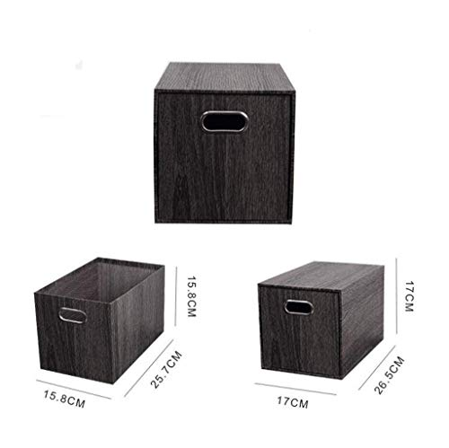 Cosmetische opbergdoos, Desktop Storage Box Drawer Type Eenvoudige Zwarte for Office Bedroom-Black Wood Grain Mooie en praktische cosmetische opbergdoos. (Color : Black wood grain)