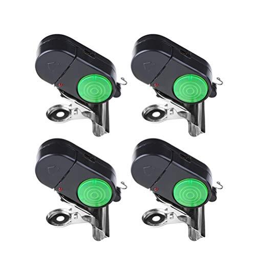 LIOOBO 4PCS Fish Alarm Bite Indicator Sound LED Fishing Alarm Waterproof Battery Powered Clip on Fishing Rod Night Fishing Supplies