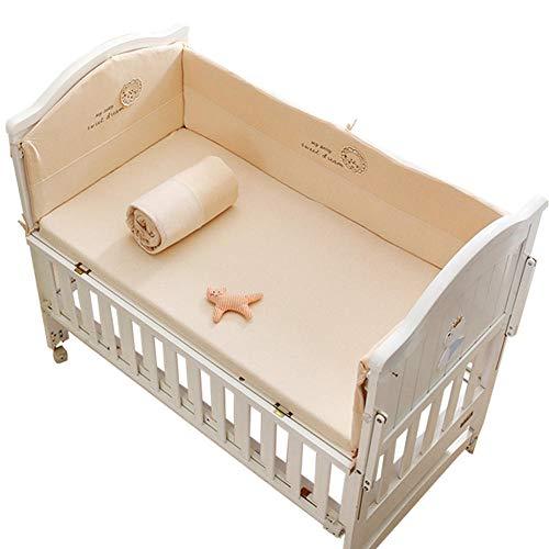 Natural Organic Cotton Crib Bumper Pads Large Size 4 Piece Baby Bedding Set Boys Girls, Bed Fence Padding Rail Guard Cover, Cot Sleep Bumper Pillow Anti-Collision, Zipper Detachable-180x100_A2