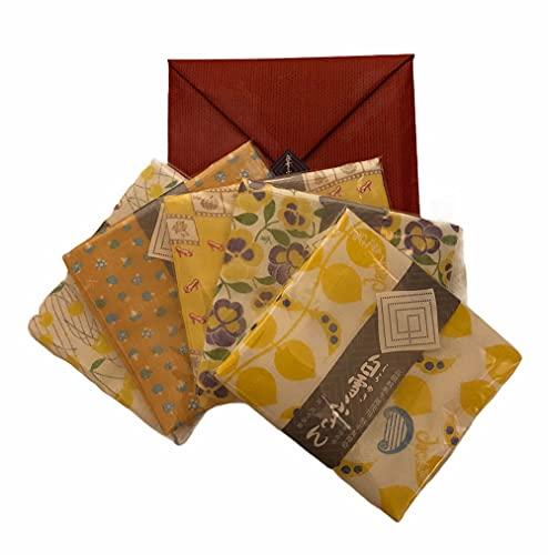 白雪 友禅ふきん黄色系5枚セット(ジャックと豆の木イエロー・パンジーイエロー・さくらんぼきいろ・きのこパンプキン・シンデレラソレイユ)赤色小袋・シール付き