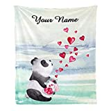 Personalized Kids Fleece Blanket with Name Custom Cute Panda Glass Jar of Hearts Baby Throw Blanket for Bed (30 x 40 inches)