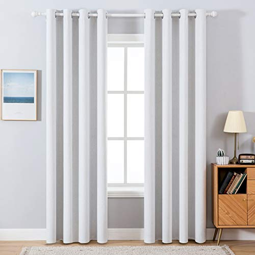 MIULEE Linen Texture Curtains for Bedroom Solid 100% Blackout Thermal Insulated Silver Grey Curtains Grommet Room Darkening Curtains/Drapes Luxury Decor for Living Room Nursery 52x90 Inch (2 Panels)