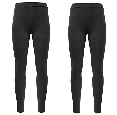 Basic women's leggings in black, pack of 2. - Black - Small