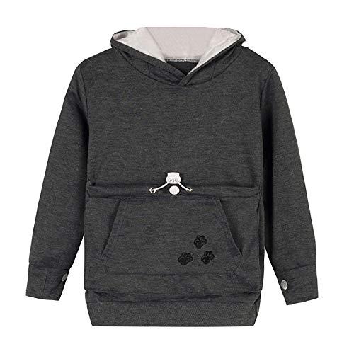 BaZhaHei Sweat-Shirt à Capuche Fille Garçon Hiver Garçon Filles Bébé Pet Chien Chat Polaire Chaud Large Poche Sweat À Capuche Hoode Sweatshirt Pullover pour 3-8 Ans (4-5 Ans,Gris Foncé)