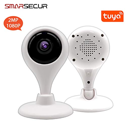 SMARSECUR® TY-X1 Cámara IP WiFi,110° Lente Gran Angular Vigilancia Full HD con Visión Nocturna,Detección de Movimiento,Audio de 2 Vías, Compatible con Amazon Alexa y Google Echo (1280x720(720P))
