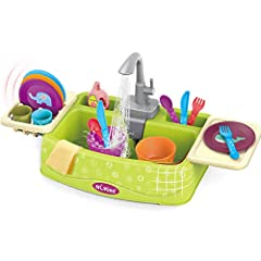IMAGINATIVE ROLE PLAYING GAME HELP EXPLORE THE WORLD: This kitchen sink toy will meet your kid's desire of imitation. They can imitate real-life activities, like switch on the faucet, dishwashing and dry tableware. Pretend play fosters creativity and...