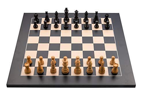 Engelhart - 170190-170191 - Juego de ajedrez Profesional 40x40cm, Incluye Piezas de ajedrez Plomo y Fieltro Rey Altura 76 mm (Negro / Natural)