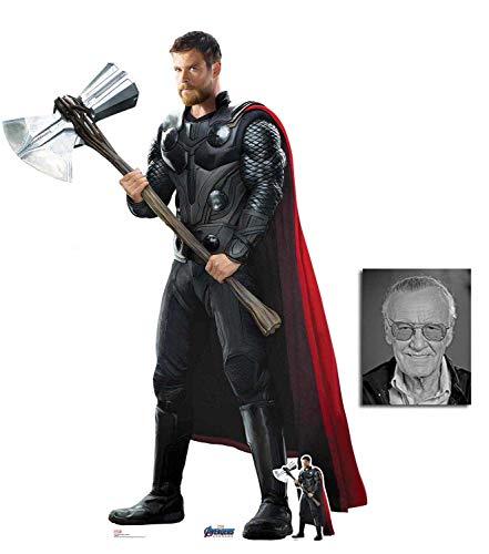BundleZ-4-FanZ Thor von Marvel Avengers: Endgame Offiziell Lebensgrosse und klein Pappfiguren/Stehplatzinhaber/Aufsteller Fan Pack, 187cm x 134cm Enthält 8X10 (25X20Cm) starfoto