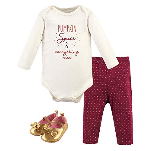 Hudson Baby Unisex Baby Cotton Bodysuit, Pant and Shoe Set, Pumpkin Spice, 0-3 Months