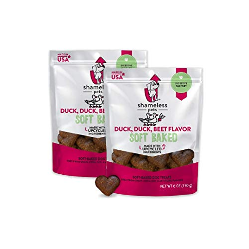 SHAMELESS Pets 2 Pack of Duck, Duck, Beet Grain-Free Soft Baked Dog Treats, 6 Ounces Each, Digestive Support, Made in The USA