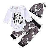 Deer Onesie Baby Boy Clothes Newto TheCrew Onesies Long Sleeve Bodysuit+Pants+Hat Outfits Sets (Deer, 3-6months)