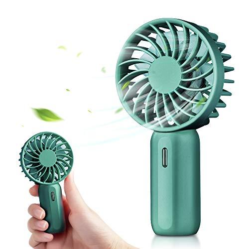 DryMartine Mini ventilador de mano ventilador eléctrico portátil con USB luz de atmósfera recargable 3 velocidades para el hogar oficina viajes verde