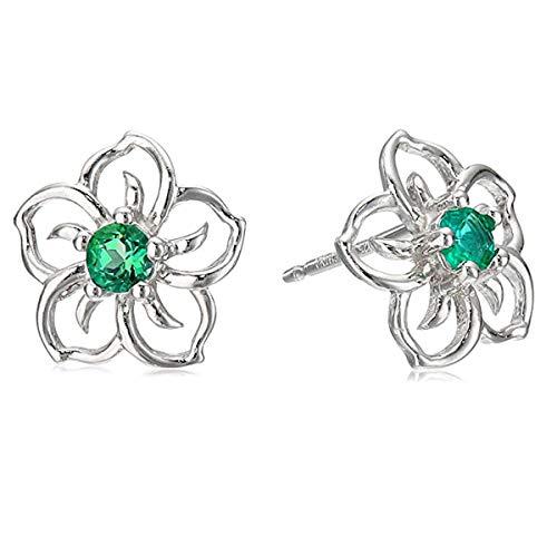 Gemsonclick plata de ley redonda Green Emerald
