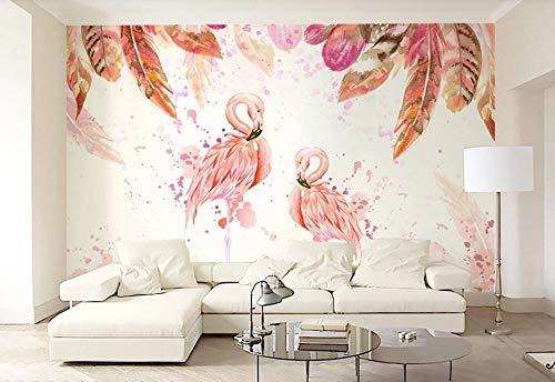 Fotomural 3D Mural Plumas De Flamenco Rosa Dibujadas A Mano Papel Pintado 3D Moderno Papel Tapiz Custom Wallpaper Decoración 400cm×280cm