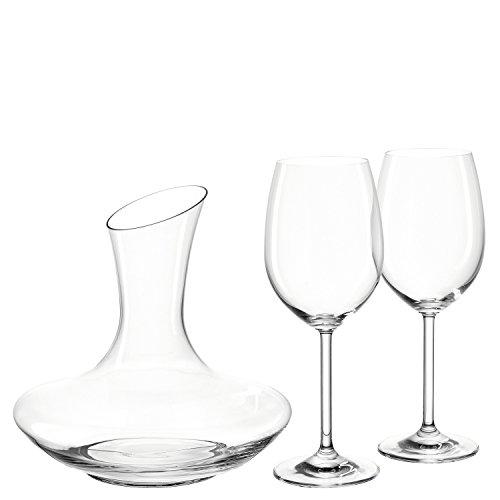 Leonardo Trio Rotweinset, 3-teilig, 2 Rotweingläser 460 ml und 1 Dekanter 1,9 l, Teqton-Kristallglas, 020564