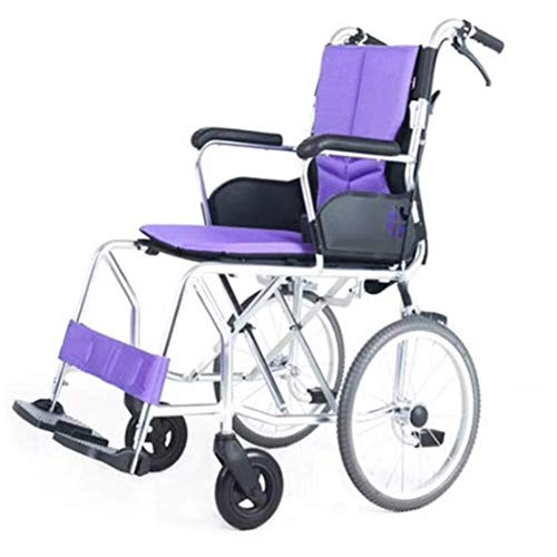 Zhenhe ligero De peso ligero plegable de aluminio de lujo de transporte con ruedas Hand Brakes Apoyabrazos apoya el resto del pie de la carga máxima 100 kg Dfhs Silla de ruedas portátil que es conveni