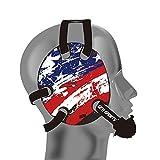 Geyi Wrestling Headgear with American Flag Decals (Black)