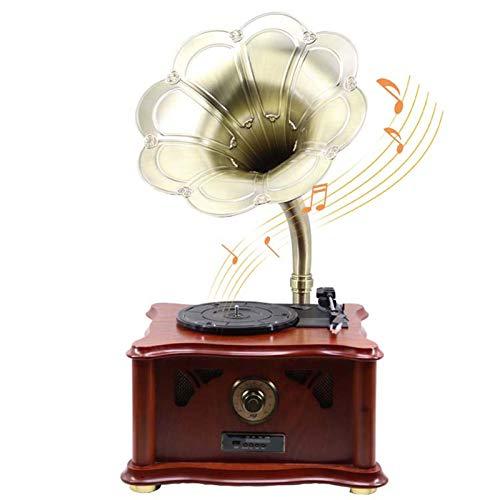 YLLYI Retro Grammophon Trompete, Plattenspieler, Antike Schallplatte, Massivholz Wohnzimmer Schallplatte, Geschenk