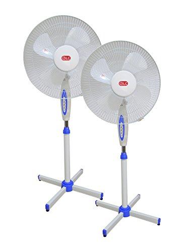 ventilador de pie, 2 Unidades, telescópico, con regulador de Intensidad, de 16 Pulgadas (40cm), 50w de Potencia.