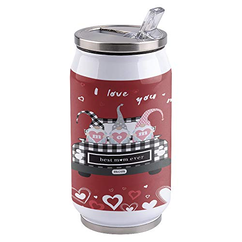 Vacuum Insulated Water Bottle I Love Mom, Gnome Truck Quoting Best Mama Ever Double Wall Stainless Steel Commuter Water Bottle Leak Proof Wide Mouth Durable Portable Kids Cup, 15oz