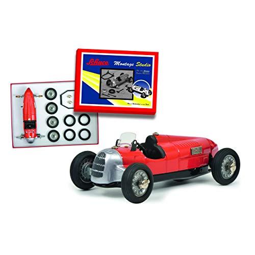 Schuco 450189600 450189600-Studio II Montagekasten,klein, Modellauto, Modellfahrzeug, Modellbaukasten, rot/Silber/schwarz