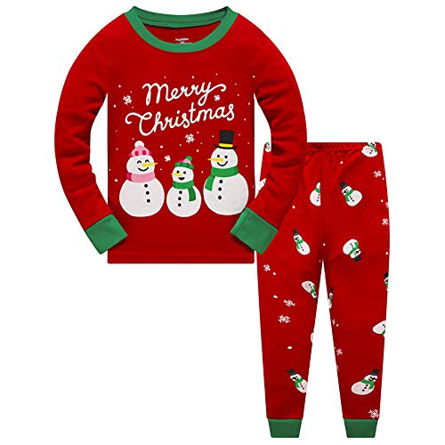 Little Boys Christmas Pajamas for Toddler Clothes Set Reindeer Sleepwear Long Sleeve 100% Cotton 2 Piece Kids Pjs Size 1-10 Years
