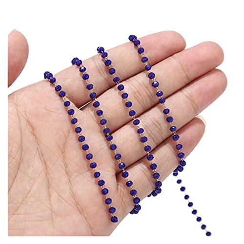 BOSAIYA PJ1 1 Metro de Acero Inoxidable Negro/Verde Oscuro/Vidrio Rojo RONDELLE Facetado 3.5mm Beads Rosario Cadenas para Collar Accesorios de joyería Tl0611 (Color : Blue)