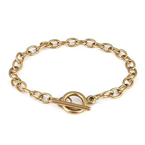 LANBEIDE 10Pcs 18K Gold Chain Bracelets Stainless Steel Link Bracelet Chains with OT Toggle Clasps for Jewelry Bracelet Making